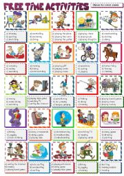 English Worksheets: FREE TIME ACTIVITIES - multiple choice (B&W included)