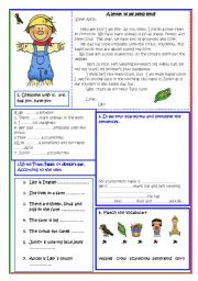 English Worksheets: A letter to a penfriend!
