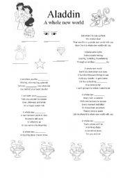 English Worksheets Aladdin Song