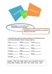 synonyms and antonyms (with answers)