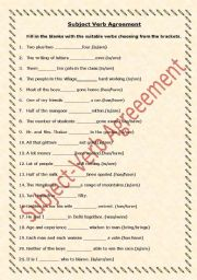 English Worksheets: Subject-Verb Agreement