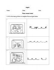 english worksheets places around school. Black Bedroom Furniture Sets. Home Design Ideas