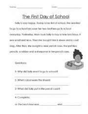 English Worksheet: The first day at school