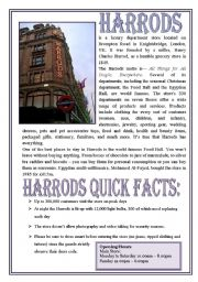 Harrods (Reuploaded, comprehension questions and writing practice added!)