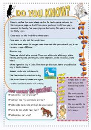 English Worksheets: Animal facts.