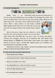 English Worksheet: Test Personal Information Mariah Carey
