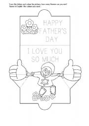 English Worksheet: HAPPY FATHER�S  DAY - KINDERGARTEN