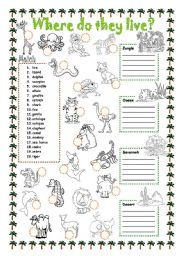 English Worksheets: Animals - Where do they live?