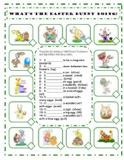 English Worksheet: WHAT´S THE EASTER BUNNY DOING? PRESENT CONTINUOUS TENSE WORKSHEET - AFFIRMATIVE FORM - EDITABLE