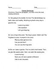 English Worksheets: Closng Sentences