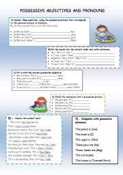 English Worksheet: Possessive adjectives ana pronouns
