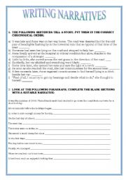 English Worksheets: EXERCISES ON WRITING NARRATIVES - KEY INCLUDED