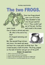 English Worksheets: The two frogs. Reading-comprehension.