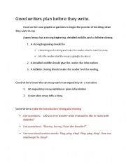 English Worksheets: Good Writers plan before they write