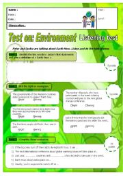 English Worksheet: Earth Hour - Listening test - A2 low B1 with key