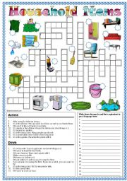 English Worksheet: Household items crossword * Can be used with my Happy Families game!