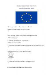 English Worksheet: Europe Webquest