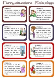 English Worksheets: Role plays for intermediate students - Funny Situations Set 1