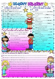 English Worksheet: DO-DON�T/DOES-DOESN�T ( + B&W  )