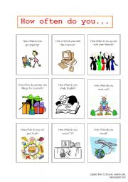 English Worksheets: How often? Conversation Flashcards