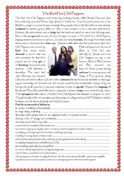 English Worksheet: red hot chili peppers reading with key