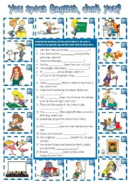 English Worksheets: You speak English, don´t you? - question tags (B&W + KEY included)