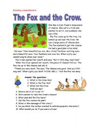 The fox and the crow. Reading-comprehension.