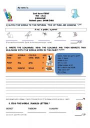 English Worksheet: 2nd term TEST 4th grade