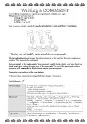 English Worksheets: How to write a comment