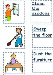 English Worksheets: chores flashcards 2of3