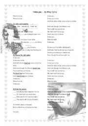 English Worksheet: Miley Cyrus I miss you