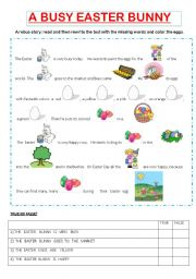 English Worksheet: A BUSY EASTER BUNNY