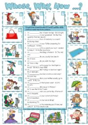 English Worksheet: Wh-questions (B&W + KEY included)
