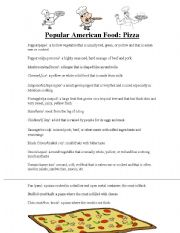 English Worksheet: Popular American Food Series: Pizza