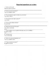 English Worksheet: reported questions and orders