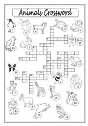 Animals Crossword Puzzle
