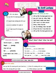 English Worksheet: What the Hell - Avril Lavigne