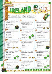 English Worksheet: Ireland Quiz