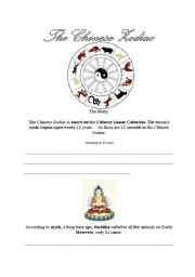 English worksheet: Chinese Zodiac reading comprehension worksheet