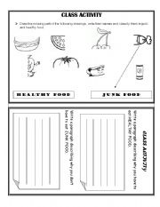 English Worksheet: HEALTHY AND JUNK FOOD
