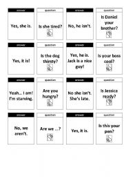 English Worksheet: Memory Game - Yes/No Questions - Editable BW