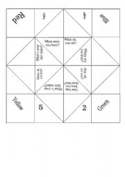 English Worksheet: Conversation cootie catcher/fortune teller