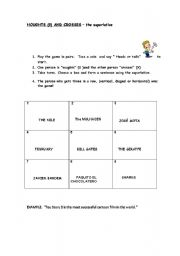 English worksheet: Noughts and crosses -The Superlative