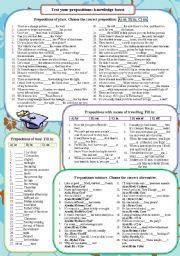 English Worksheets: Test your prepositions: knowledge boost