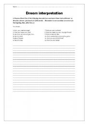 English Worksheets: Dream interpretation