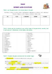 English Worksheet: TEST - sport and culture