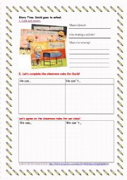 English worksheet: DAVID GOES TO SCHOOL_ BACK TO SCHOOL WS