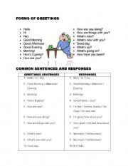 English Worksheets: Forms of greetings