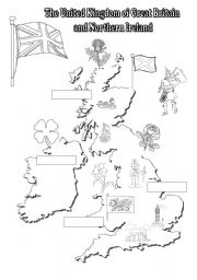 English Worksheets: The UK: black-and-white map for young learners