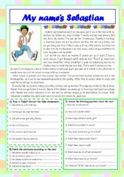 English Worksheet: My name�s Sebastian